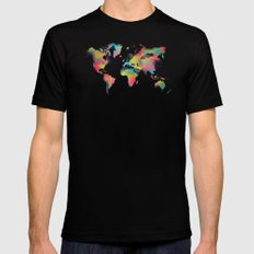 world map 3 Black Mens Fitted Tee MEDIUM