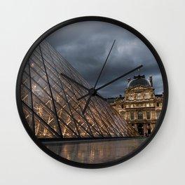 Louvre at Dusk Wall Clock