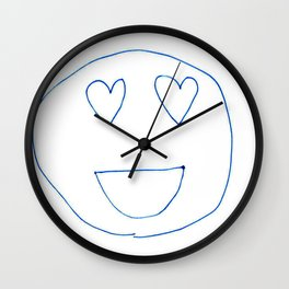 Smiley Faces with Heart Eyes Wall Clock