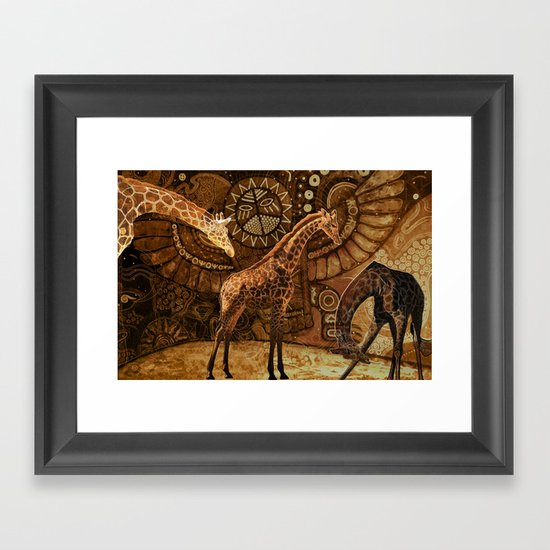 Three Giraffes Framed Art Print