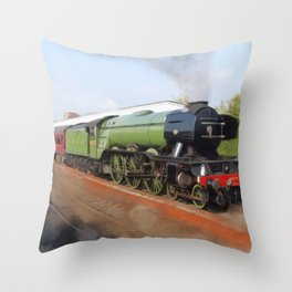 Flying Scotsman, Steam Engine Throw Pillow