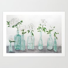 Blue Bottles Art Print