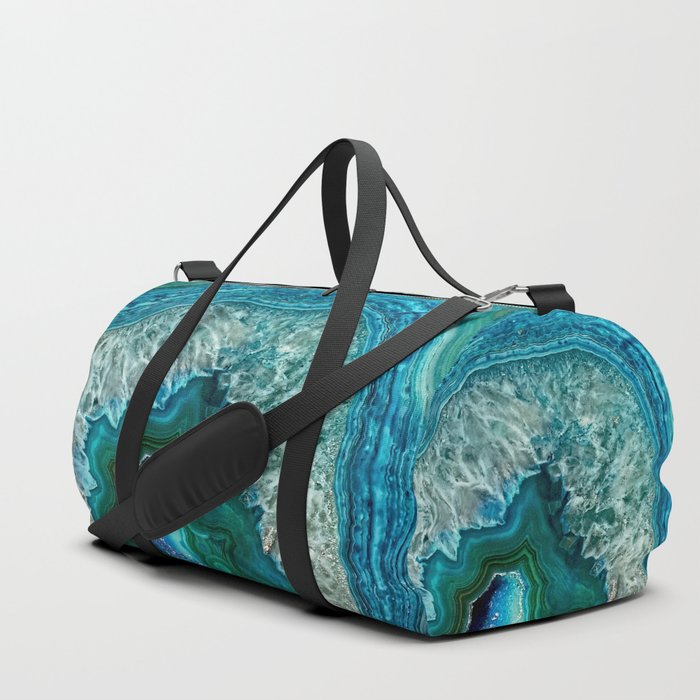 Aqua turquoise agate mineral gem stone - Beautiful Backdrop Duffle Bag
