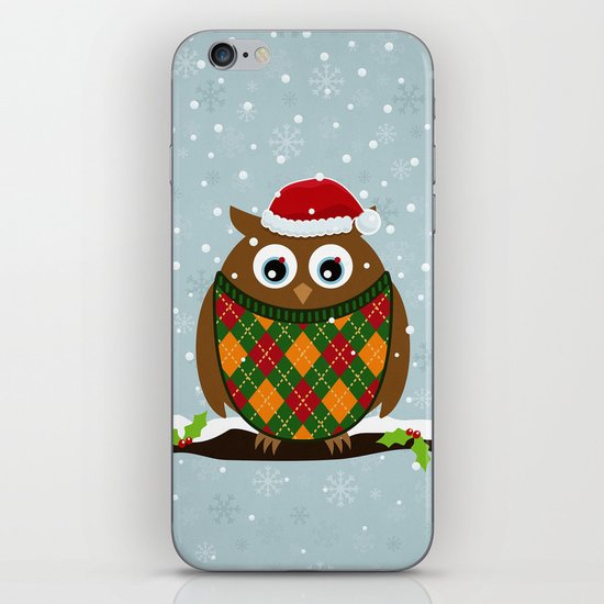Christmas Owl iPhone & iPod Skin
