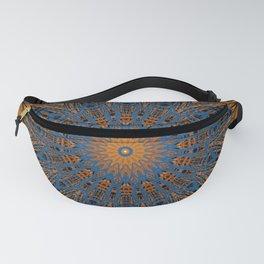 Vibrant Orange blue mandala Fanny Pack