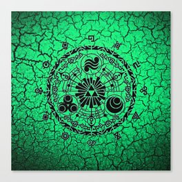Green Circle Of Triangle Canvas Print
