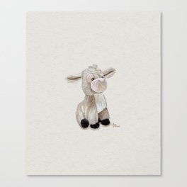 Cuddly Donkey Watercolor Canvas Print
