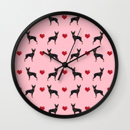 Miniature Doberman Pinscher love hearts dog breed valentines day gifts Wall Clock