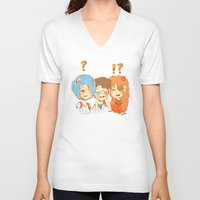 evangelion V-neck T-shirts featuring Neon Genesis Evangelion Main 3 by Caleb Ayers
