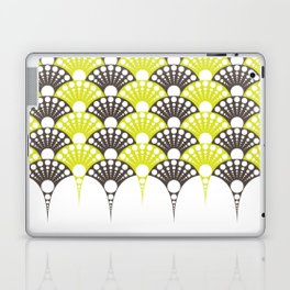 brown and lime art deco inspired fan pattern Laptop & iPad Skin