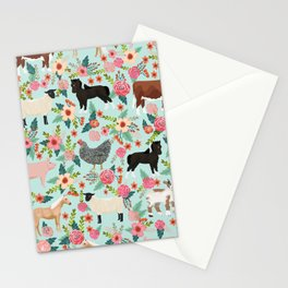 Farm animal sanctuary pig chicken cows horses sheep floral pattern gifts Stationery Cards
