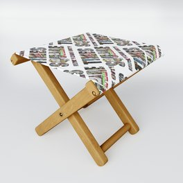 Times Square New York City (diagonal type on white) Folding Stool