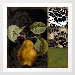 Damask Lerain Pear Art Print