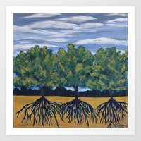Rooted Abstract Tree Landscape Art Print