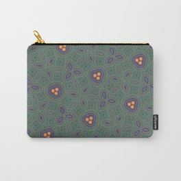 Bohemian Peacock and Leaf Thread Weave Pattern \\ Yellow Green Blue Purple Color Scheme Carry-All Pouch