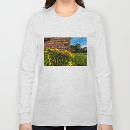 Yellow Flowers - Red Barn Long Sleeve T-shirt