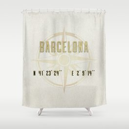 Barcelona - Vintage Map and Location Shower Curtain