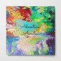 ADVENTURE AWAITS Wanderlust Typography Explore Summer Nature Rainbow Abstract Fine Art Painting by ebiemporium