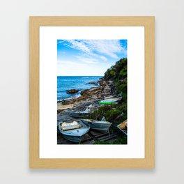 Gordons Bay boats by the shore Framed Art Print