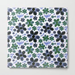 Colored Pencil Flowers in Blue and Green Metal Print