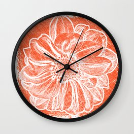 White Flower On Pumpkin Orange Crayon Wall Clock
