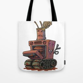 Robot pie thrower Tote Bag