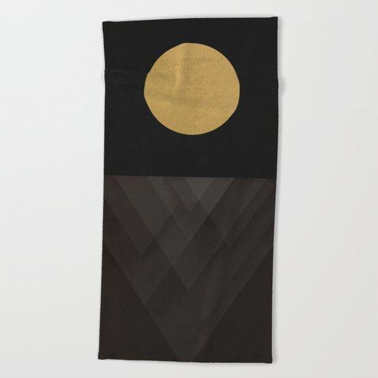 Moon Reflection on Quiet Ocean Beach Towel