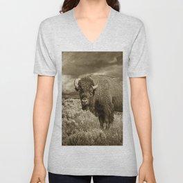 American Buffalo in Sepia Tone Unisex V-Neck