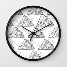 The small clouds and the mountains pattern Wall Clock