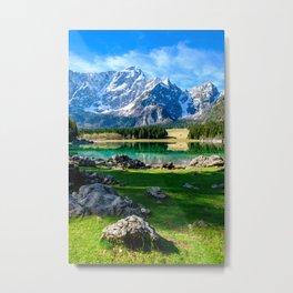 Spring morning at the alpine lake Metal Print