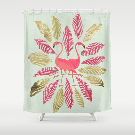 Flamingos Pink Gold Shower Curtain By Cat Coquillette Society6