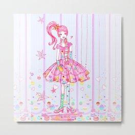 Pink Cupcake Girl Metal Print