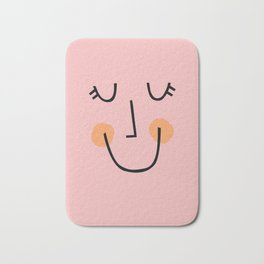Winky Smiley Face in Pink Bath Mat