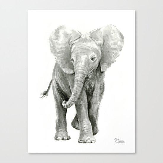 Baby Elephant Watercolor Canvas Print
