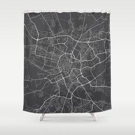 Krakow Map, Poland - Gray Shower Curtain