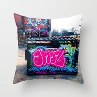 grafitti Throw Pillows featuring Amazed Grafitti by Squint Photography