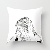introvert Throw Pillows featuring Introvert 1 by Heidi Banford