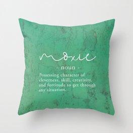 Moxie Definition - White on Green Texture Throw Pillow