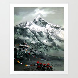 Panoramic View Of Mountain Everest Art Print