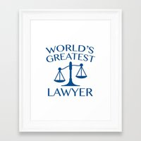 lawyer Framed Art Prints featuring World's Greatest Lawyer by AmazingVision