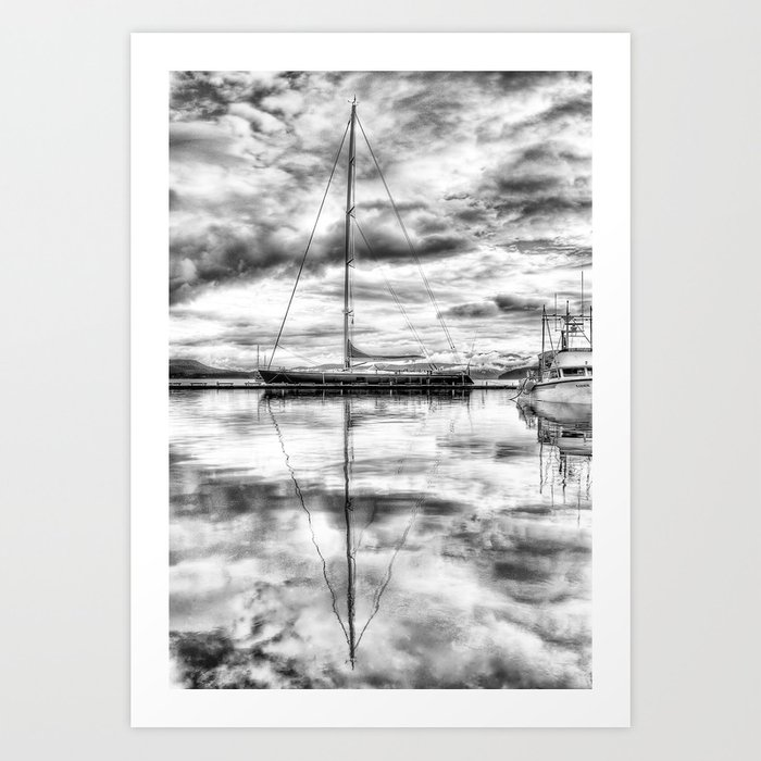 Silver Sailboat Art Print