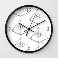 third eye Wall Clocks featuring Third Eye by TheRobMonster