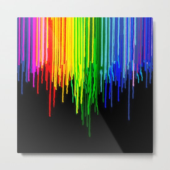 Rainbow Paint Drops on Black Metal Print