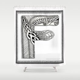 Zentangle F Monogram Alphabet Illustration Shower Curtain