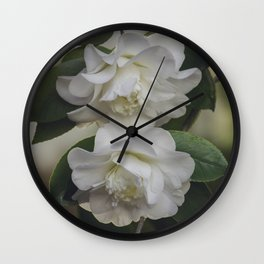 Romantic White Vintage Flowers, Nature Prints, Flower Photography Wall Clock