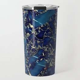 Dark blue stone marble abstract texture with gold streaks Travel Mug