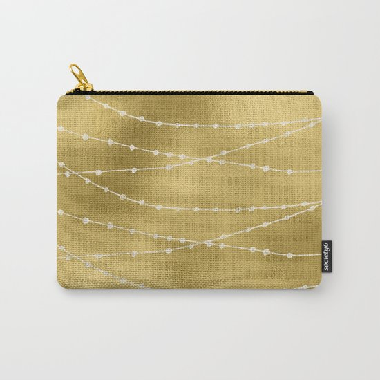 Merry christmas- white winter lights on gold pattern Carry-All Pouch