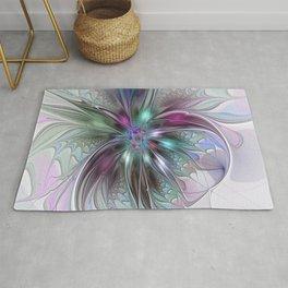 Colorful Fantasy Abstract Modern Fractal Flower Rug