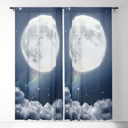 Full Moon Night in Blue Blackout Curtain