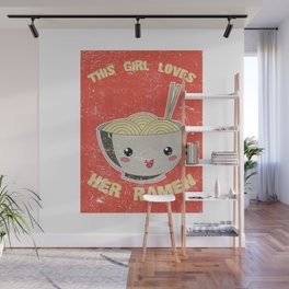 This Girl Loves Her Ramen Japanese Noodles Lover Vintage Retro Wall Mural